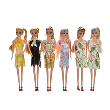 Creative gift 2017 New arrival children girls gift baby kids play toys 5 Joints Doll with Head Wig Dress Shoes for Barbie Doll(China)