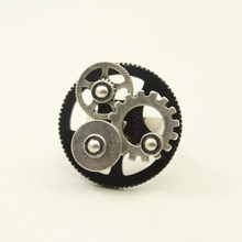 Fashion accessories gear ring female male finger ring vintage steampunk 17mm rings for women