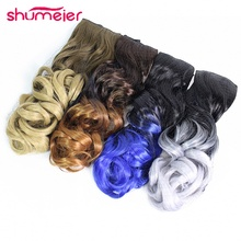 Shumeier 16Colors 60cm Long Wavy Colored Ombre Synthetic Hairpiece Clip In Hair Extensions for Women