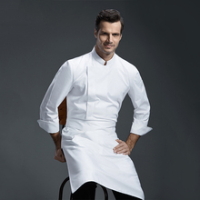 Long Sleeve Autumn Winter Hotel Hotel Restaurant Kitchen Apparel Bakery Men & Women Chef Serving White apron(China)