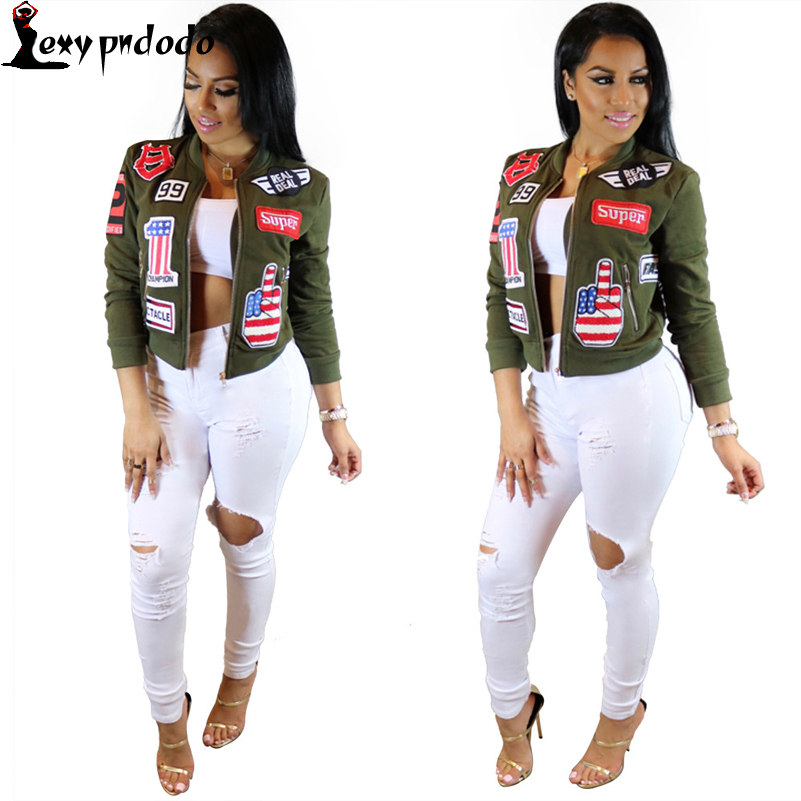 Long Sleeve Women Bomber Jacket 2016 Female Coat Flight Suit Casual Jacket Embroidered Patch Woman Jacket Coat Jaqueta Feminina