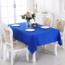 Cheap Royal Blue solid Round Polyester Rectangle Tablecloth Dining Tablecloths Picnic Tablecloth For Table Kitchen(China)