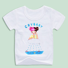 Ready Stock,Girl Melanie Martinez Printed T-shirts Kid's Cry baby Funny Design T shirts Children Cartoon Tops Tees(China)