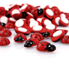 100PCS Beatles Shape Wooden Ladybird Ladybug Sticker Children Kids Painted adhesive Back DIY Craft Party Holiday Decoration
