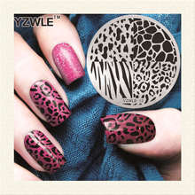 YZWLE 1 Piece Leopard Grid Nail Art Stamp Template 3D Fashion Pattern Polish Printing Stamping Plates Beauty Stencils For Nails