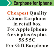 Hot! Cheapest White Earphone With Remote & Mic For apple IPhone 6 6s 6G Plus 5 S55G in Retail box For Gift 100pcs/lot