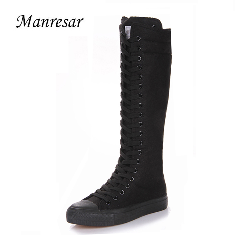 2017 New Fashion Lady Women Boots Canvas Lace Zip Knee High Boots Women motorcycle boots Flat Casual Tall Punk Shoes woman