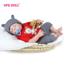 NPKDOLL 22 Inches Baby Reborn 55 cm Realistic BeBe Reborn Doll Baby Handmade Lifelike Full Body Silicone Sleeping Baby Doll Toy(China)