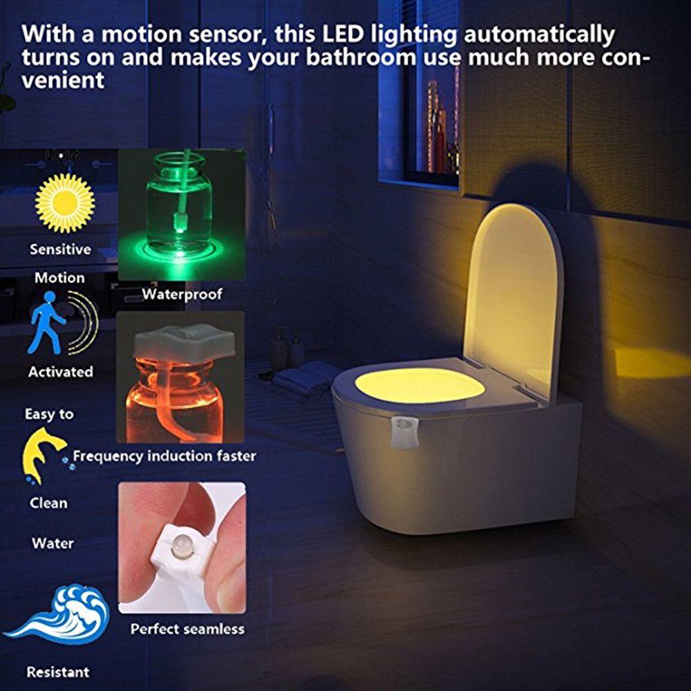 Toilet Night Light Motion Activated LED 8 Colors Changing Lights for Bathroom