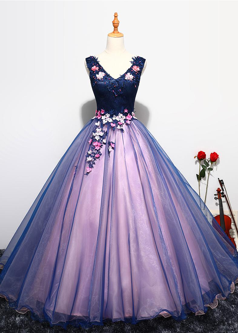 Quinceanera Dress Prom Sleeveless Sexy V-neck Ball Gown