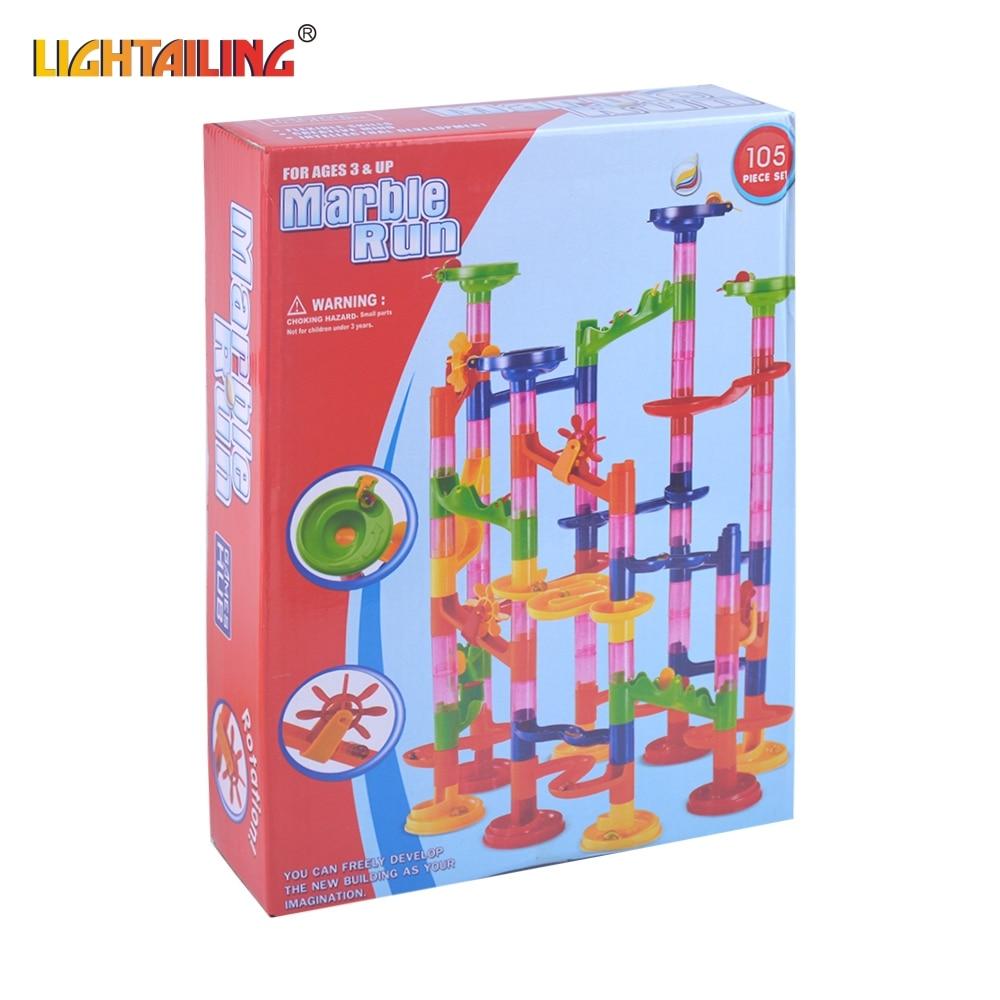 105Pcs/Set Educational Toys Domino bone Mini size Marble Run Toys Plastic Building Blocks toys Maze Balls Track DIY Construction<br><br>Aliexpress