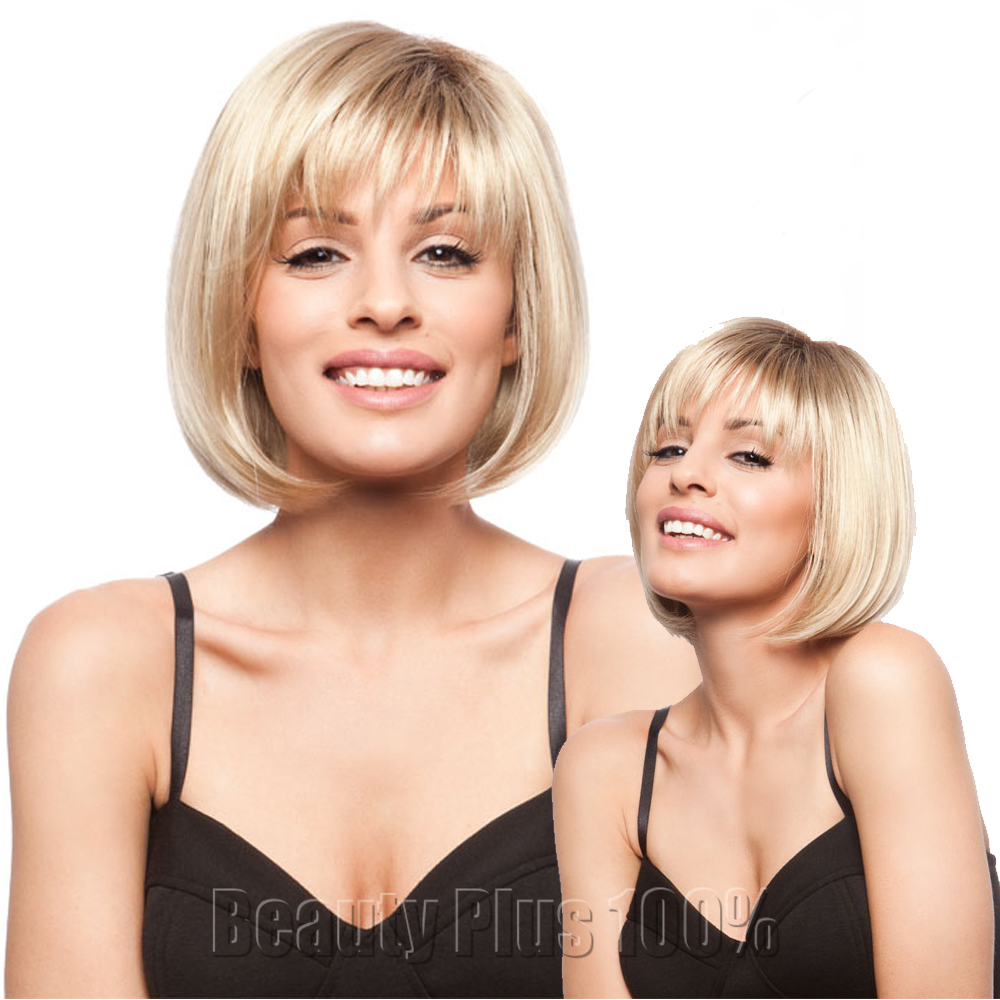 Fashion Heat Resistant Synthetic Wigs for Women natural brown Medium length hair Bob wigs with side bangs eurasian curly hair<br><br>Aliexpress