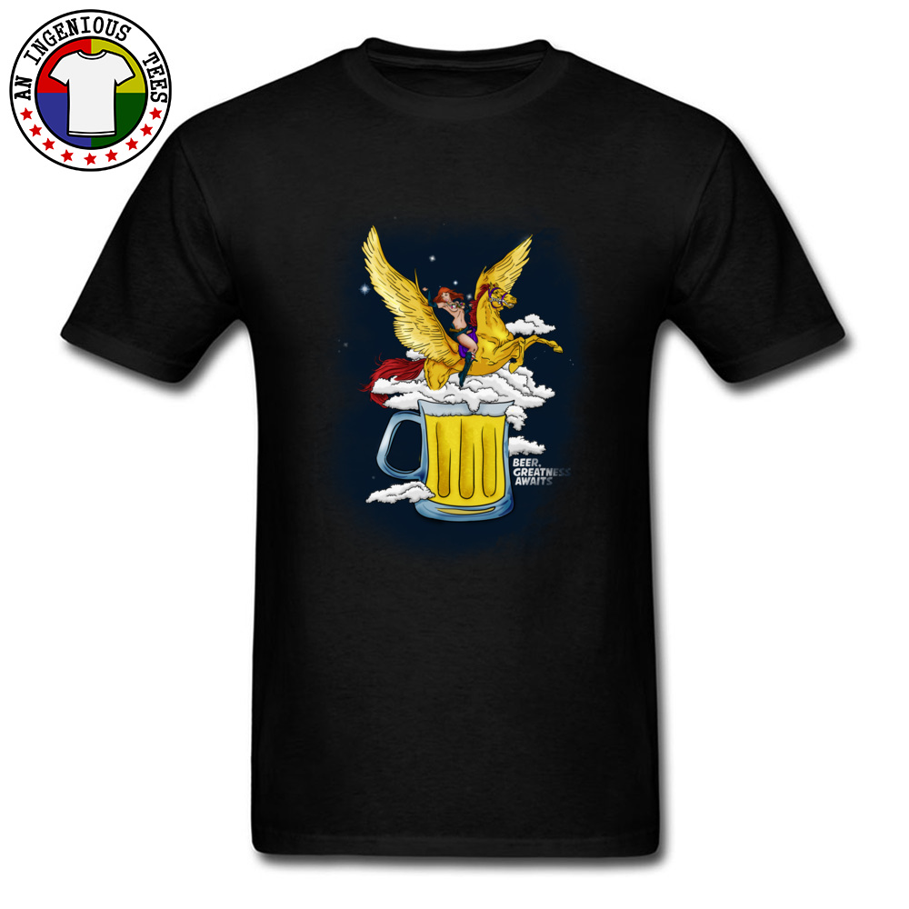 Beer Greatness Awaits Casual Tops Shirts Short Sleeve for Men Pure Cotton Summer Crew Neck T Shirts Custom Tees Fashionable Beer Greatness Awaits black