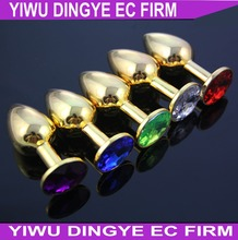 Dingye Anal Toys for Men Gold Stainless Steel Anal Plugs Diamond Crystal Metal Butt Plugs(China)