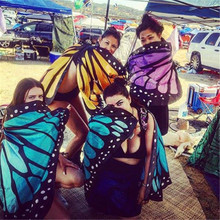 Colorful Soft Fabric Butterfly Wings Fairy Ladies Nymph Pixie Costume Accessory New Arrival Summer Beach Wear Cover Ups