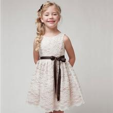 2017 Newest Summer Style Lace Girls Dress With Sashes Lace Top Grace Classic Girl Dress Children Wear 3colors
