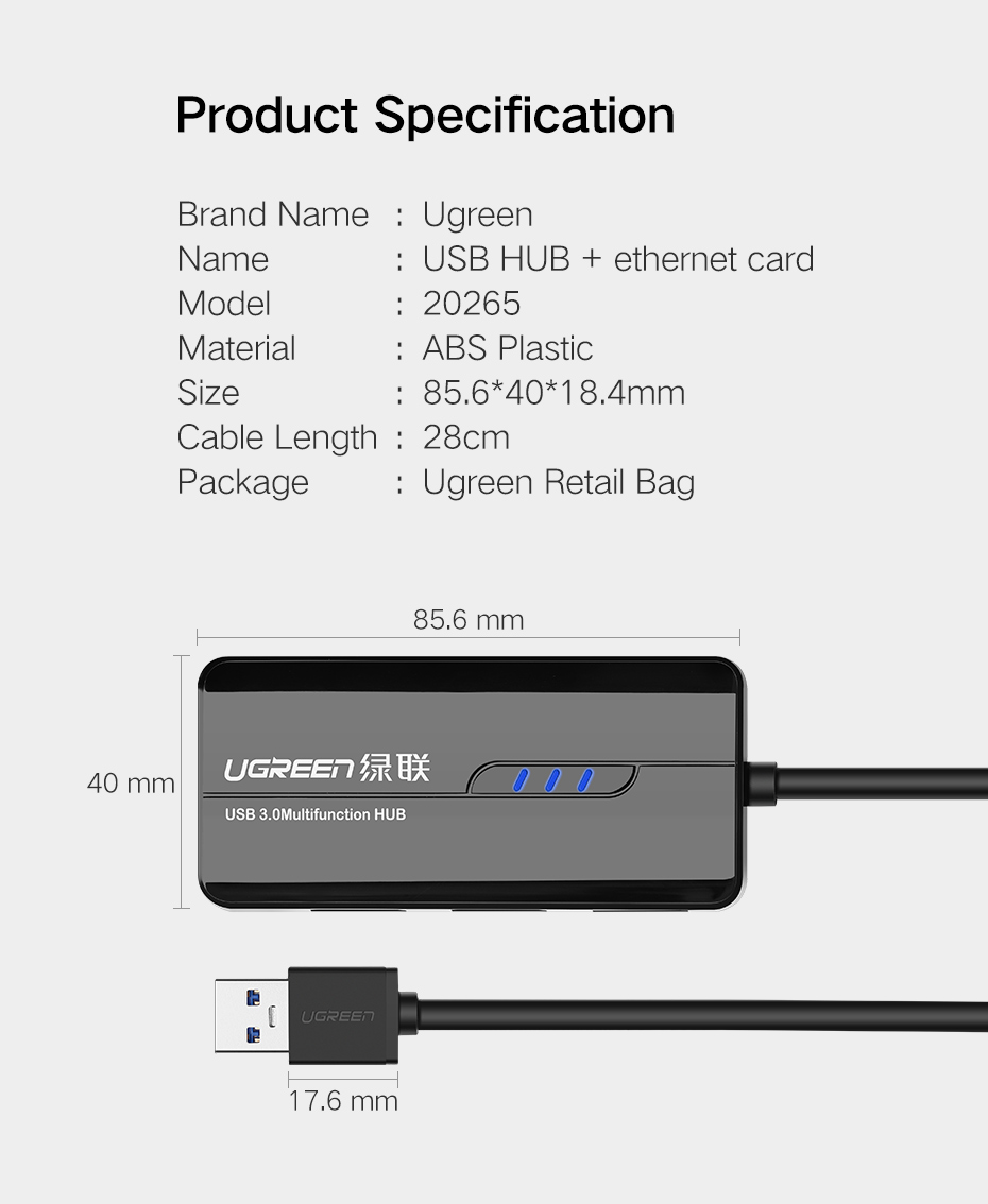 Ugreen USB 3.0 Ethernet Adapter USB 3.0 2.0 to HUB RJ45 Lan Network Card for Xiaomi Mi Box Nintendo Nintend Switch USB Ethernet 14