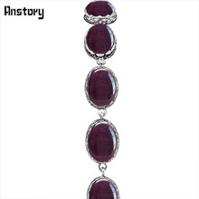 Oval Dark Red Opal Bracelets For Women Flower Bead Vintage Look Antique Silver Plated Fashion Jewelry TB281(China)