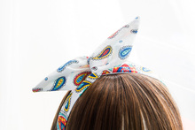 Head Hair Scarf Comic Print Paisley Retro White 50s Headband Geek White Pinup Vintage Head Bands Accessories