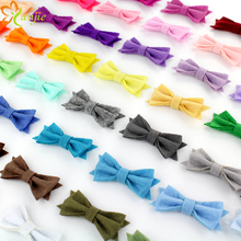 "60pcs/lot 2017 New Arrival 2"" Tiny Felt Non-woven Hair Bow Barrete Kids Girl Handmade DIY Hair Accessories Boutique Hair Clip(China)"