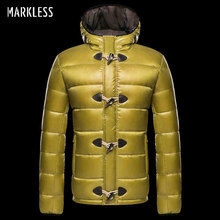 Markless 2017 Men's Down Jackets Brand Clothing Mens Casual White Duck Down Hooded Coats Male Fashion Outerwear Down Coats(China)