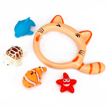 1 Sets Fishing Toys Network Bag&Fish&tortoise&starfish Kids Toy Swimming Classes Summer Play Water Bath Toy