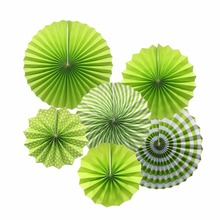 Party Hanging Paper Fans Round Pattern Paper Garland Hanging Decoration for Wedding Birthday Party Bridal Shower Pack of 6 Green(China)