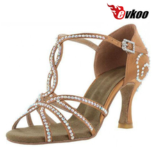 Evkoo Dance Salsa Dance Shoes For Woman Satin With Diamond 2016 Hot Sale Dance Shoes Evkoo-055