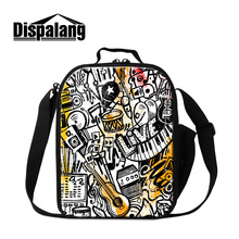 Dispalang Musical Instruments cute lunch cooler bags for children thermal food picnic lunch bag for women men portable lunch box