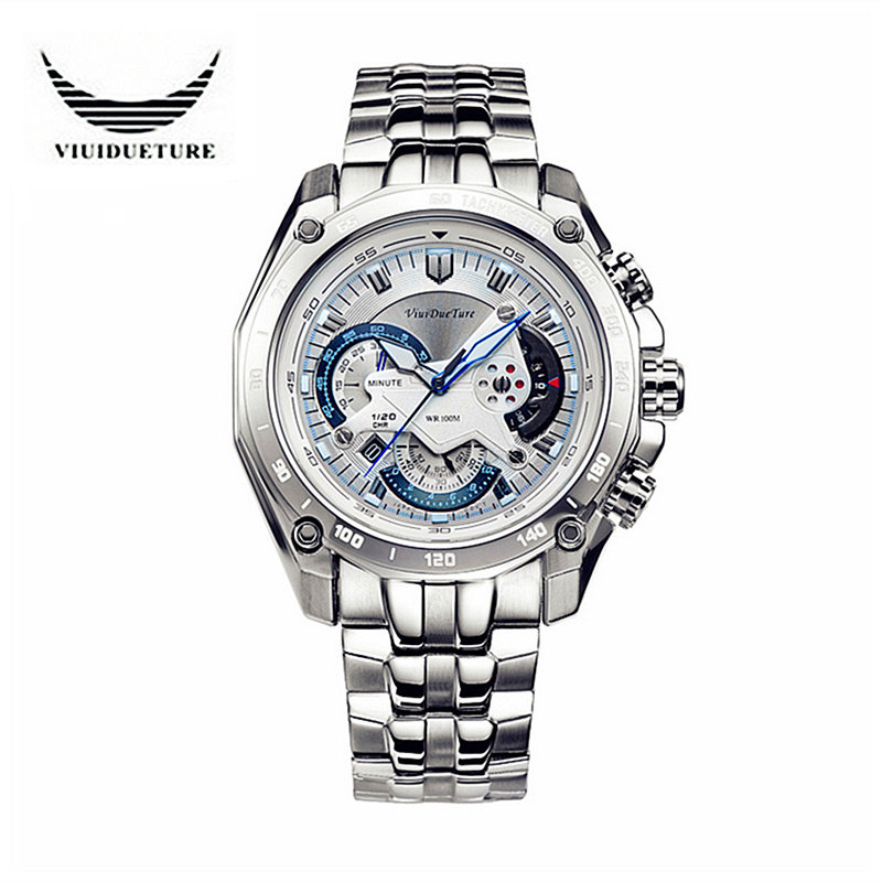 VIUIDUETURE Famous Brand Men Sports Watches F1 Style Full Steel Quartz Watch Male Waterproof Military Wristwatch Montre Homme<br><br>Aliexpress