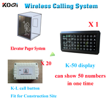 Cheap price lift wireless call bell system for construction site wireless call button system elevator emergency help KOQI 433mhz