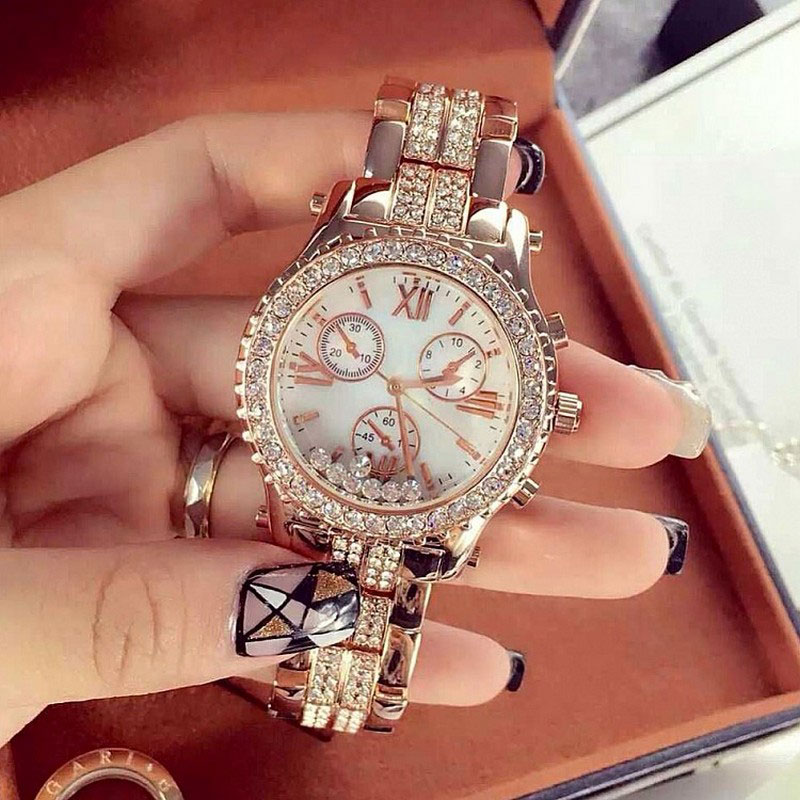 Top Brand Luxury Fashion Ladies Women Rhinestones Full Logo Watches Rose Gold Silver Quartz Relojes De Marca Mujer Montre Femme <br>
