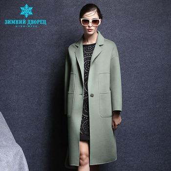Phổ biến thời trang mùa đông Dài người phụ nữ Áo khoác cashmere nữ Chuyển xuống Cổ Áo wool coat phụ nữ top grade áo len