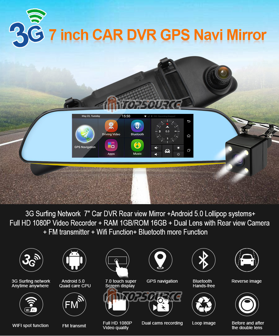 """TOPSOURCE Auto GPS ANDROID 5.0 1G/16G 3G 7"""" IPS Car DVR Mirror Camera Dual Lens 1080P Video Recorder Dash Cam Parking Monitor 2"""
