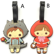 Little Red Riding Hood & Grey Wolf Travel Accessories Luggage Tag Cartoon Silica Gel Suitcase Baggage Tags Portable Label 10cm