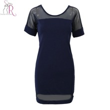 Women Semi Sheer Dress Navy And Black Sexy Patchwork Panel Short Sleeve Mini Shift Dresses 2017 New Summer Brief O Neck Clothing