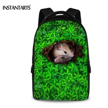 INSTANTARTS Women Travel Backpacks Green Grass Cute Mouse Laptop Rucksacks for Middle School College Students Casual Daypacks(China)