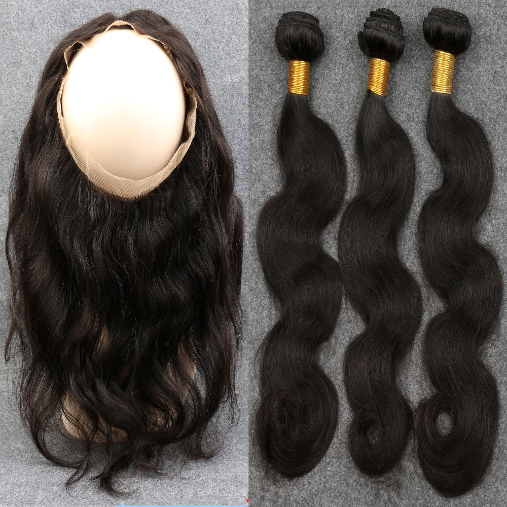 360 Lace Frontal Closure With 2 or 3 Bundles Peruvian Pre Plucked 360 Lace Frontal With Bundle Body Wave Human Virgin Hair<br><br>Aliexpress