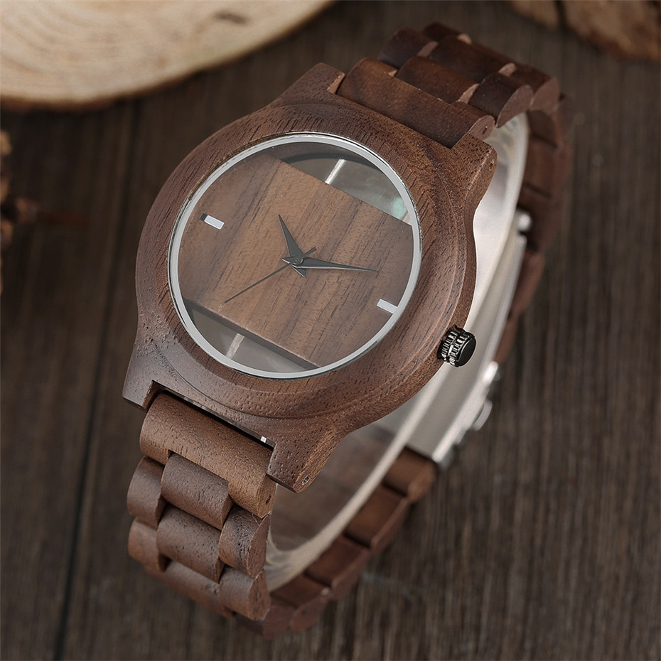Different color Creative Fashion Casual Sport Simple analog Hollow Bamboo Wooden Men Unique Handmade Wood Quartz Wristwatch+Gift Bags (24)
