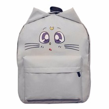 Lovely Cat 3D Cotton Backpack School Canvas Large Capacity Cute Ear Emotion Street Schoolbags for Teenager Girls Mochila Escolar(China)