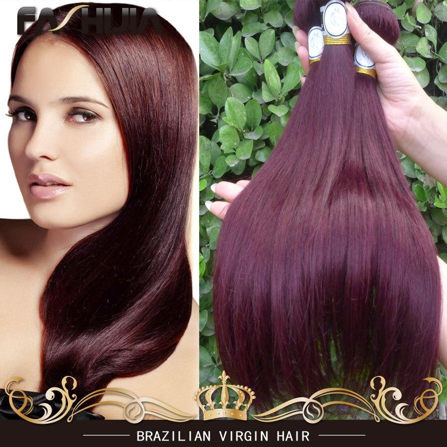 Cheap Brazilian Straight Hair Bundles 99J Red Brazilian Hair 2/3/4Pcs Lot Virgin Human Hair Mixed 10-30Burgundy Straight Hair<br><br>Aliexpress
