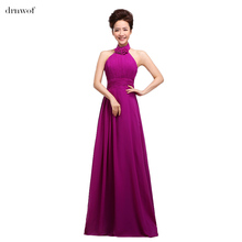 drnwof 2017 Long Women Halter Bridesmaid Dresses Sleeveless Party Wedding Dress Appliques A-Line Chiffon Blue Red Purple Pink(China)