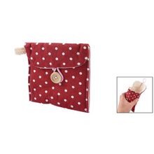 New White Women Rectangle Dotted Sanitary Towel Holder Bag Button Pouch Burgundy SODIAL(China)