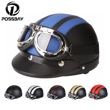 Retro Vintage Style Motorcycle Helmets Scooter Open Face Half Leather Helmets Visor UV Goggles Cycling Glasses Men/Women Helmets