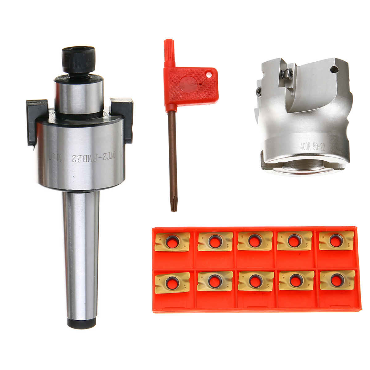 MT2 400R 50mm Face End Mill Cutter 4 Flutes + 10pcs APMT1604 Carbide Inserts with Wrench For Power Tool<br>
