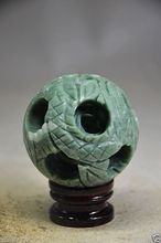 56MM SPLENDIFEROUS CHINESE JADE HAND-CARVED 3 LAYERS PUZZLE BALL(China)