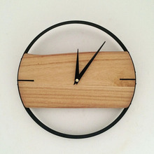 PINJEAS natural wall clock brief style wooden wall clock wooden decor large round unique clock 12 INCH digital clock for Bedroom