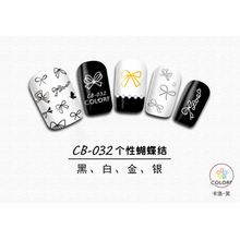 SUPER THIN SELF ADHESIVE 3D NAIL ART NAIL SLIDER STICKER GOLD SILVER BLACK WHITE BOW TIE SMILING FACES CAMELLIA LACE CB032-037(China)