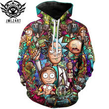 Rick e Morty Hoodies Por jml2 Arte 3D Unisex Quadrinhos Moletom Homens Marca Do Hoodie Treino Ocasional Bordado DropShip Streetwear(China)