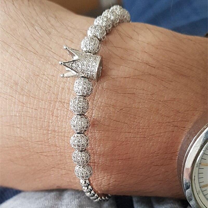 Nouveau Hommes Femmes De Luxe Micro Pave Zircone cubique couronne tressée réglable couple Bracelets